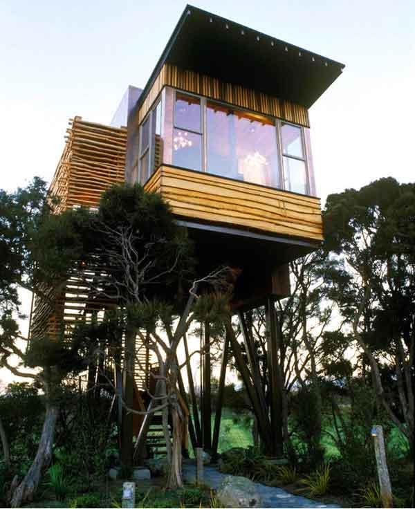 हापुकु लॉज - न्यूजीलैंड के दक्षिणी द्वीप पर स्थित यह ट्रीहाउस। यह पेड़ मकान और एक अकेले खड़े जैतून का सूट अपार्टमेंट रहने के लिए चुन सकते हैं।