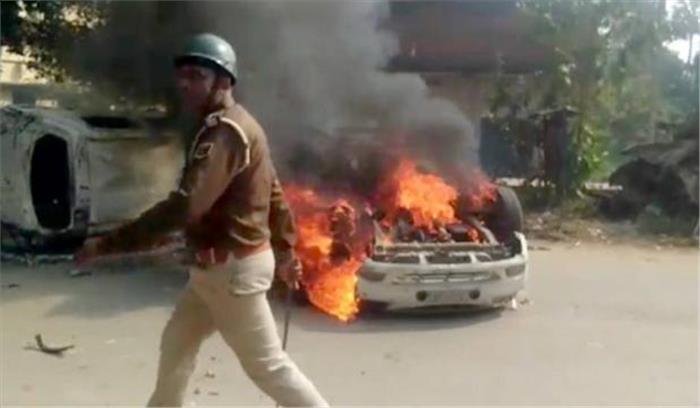 दलित युवती की संदिग्ध मौत के बाद बिहार के कैमूर में थाने पर हमला , आगजनी-फायरिंग , DSP जख्मी