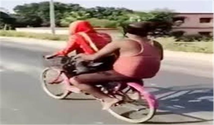 15 वर्षीय ज्योति पिता को साइकिल पर बैठाकर गुरुग्राम से बिहार ले गई , सुनाई अपनी दर्दभरी कहानी