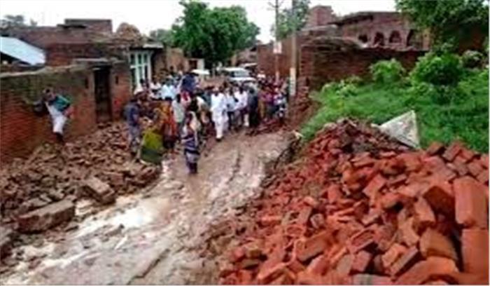 मैनपुरी में भारी बारिश के बाद 2 मकानों की दीवारें गिरीं, 3 बच्चों की मौत