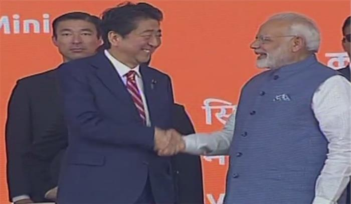 प्रधानमंत्री मोदी ने जापानी पीएम शिंजो आबे के साथ बुलेट ट्रेन का किया शिलान्यास