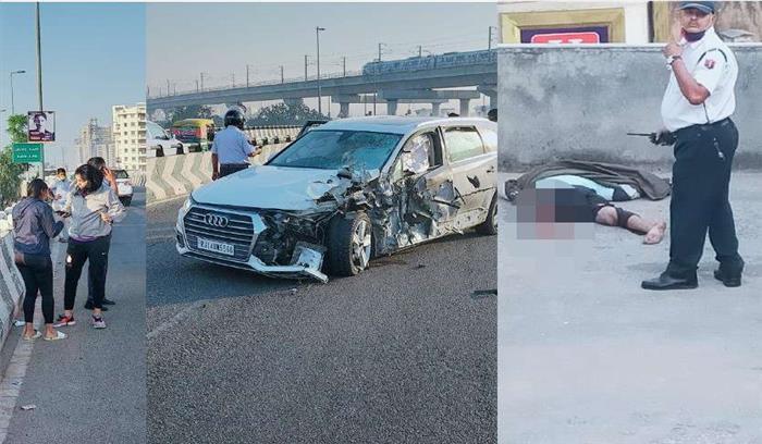 युवती ने ऑडी Q7 गाड़ी से मारी युवक को टक्कर , 60 फीट दूर एक घर की छत पर जाकर गिरा युवक