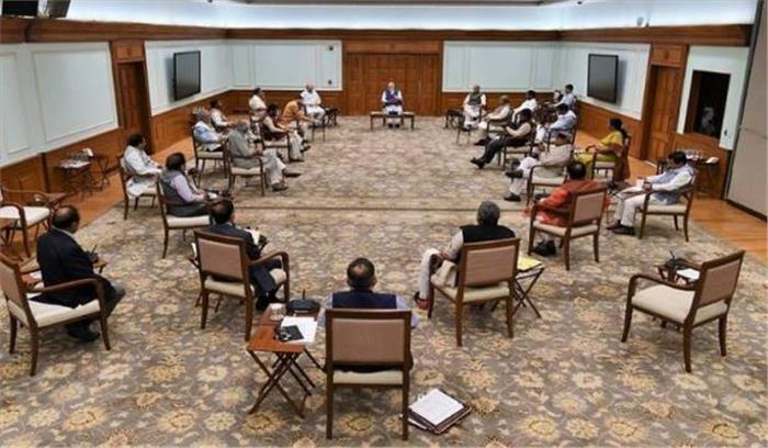 कोरोना की मार LIVE - कैबिनेट बैठक में दिखी सोशल डिस्टेंसिंग , एक मीटर की दूरी बनाकर बैठे PM - मंत्री