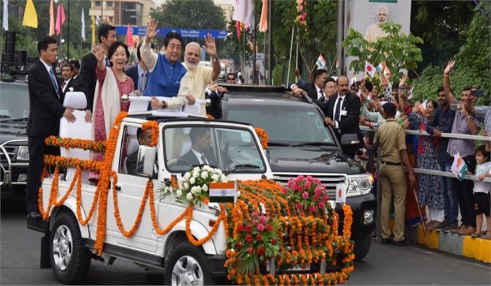 जापानी पीएम शिंजे आबे का हुआ भव्य स्वागत, साबरमती आश्रम तक दो प्रधानमंत्रियों का होगा मैगा शो