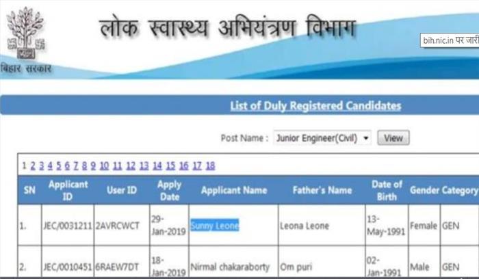 सनी लियोनी ने किया बिहार में जूनियर इंजीनियर परीक्षा में टॉप
