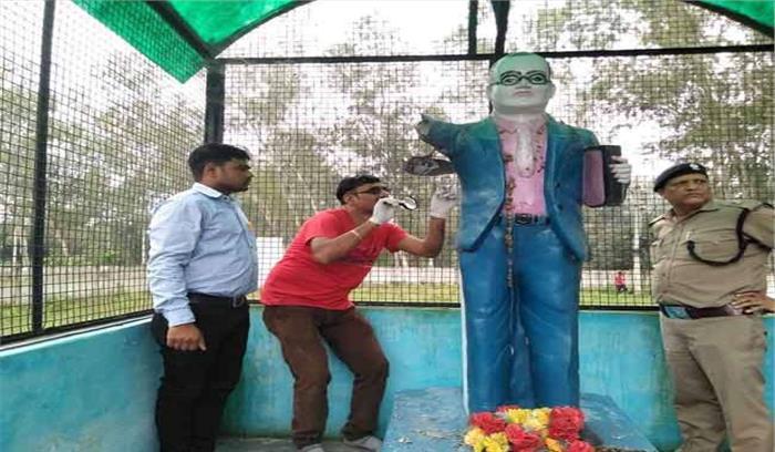भगवानपुर में असामाजिक तत्वों ने बाबा साहेब की मूर्ति को किया क्षतिग्रस्त, भारी संख्या में पुलिस बल तैनात