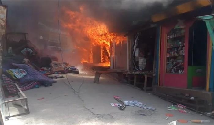 उत्तरकाशी के बड़कोट बाजार में सिलेंडर विस्फोट से आग , 6 दुकानें हुई खाक
