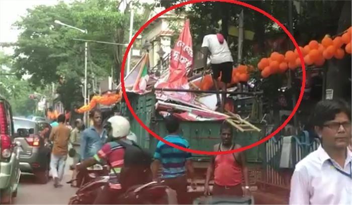 LIVE - अमित शाह की कोलकाता में रैली से पहले हंगामा , पुलिस - चुनाव आयोग ने होर्डिंग हटाए , रैली का अनुमति पत्र मांगा