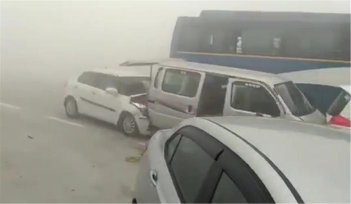 यमुना एक्सप्रेसवे पर एक के बाद एक 18 गाड़ियां टकराईं, कई लोग हुए घायल